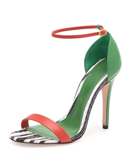 Snake & Napa Colorblock Sandal, Green/Black/Red