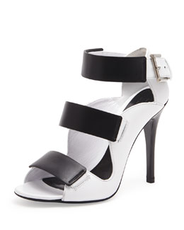 Alexander McQueen Triple Band Leather Sandal, Black/Ivory