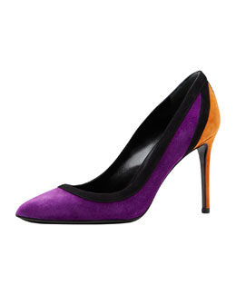 Gucci Brook Suede Point-Toe Pump, Black/Berry