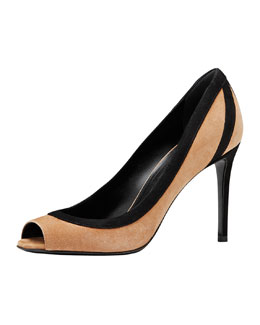 Gucci Brook Suede Peep-Toe Pump, Camelia/Nero