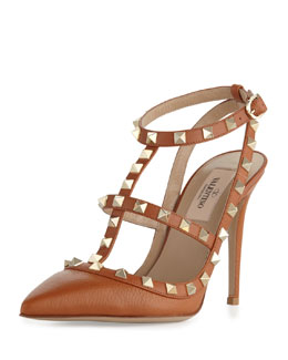 Valentino Rockstud Leather Slingback Sandal, Cognac