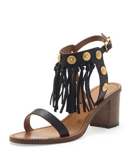 Valentino Leather Fringe Sandal, Black