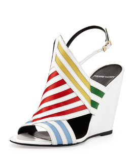 Pierre Hardy Multicolor Striped Wedge Sandal