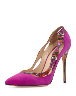 Alexandre Birman Suede & Python Point-Toe Pump, Azalea