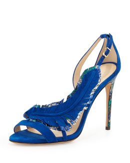 Alexandre Birman Suede and Python Feather Sandal