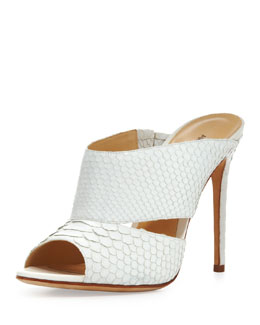 Alexandre Birman High-Heel Python Slide, White