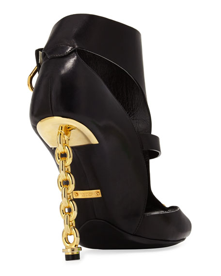 Buckled Chain-Heel Cutout Sandal