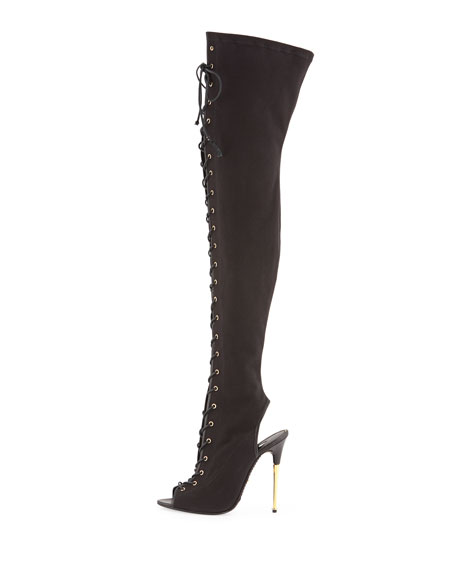 Canvas Lace-Up Over-the-Knee Boot