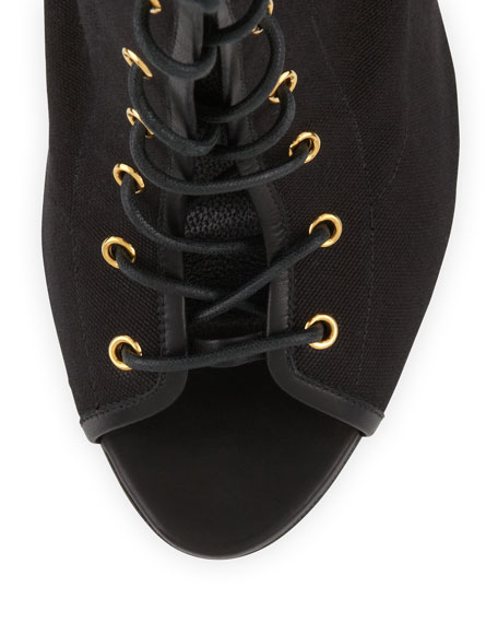 Stretch Canvas Lace-Up Bootie, Black