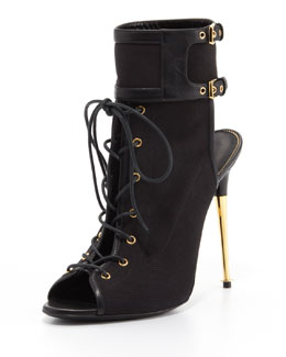 Tom Ford Stretch Canvas Lace-Up Bootie, Black