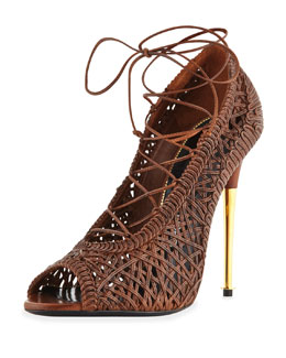 Tom Ford Napa Laces Pump, Caramel