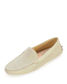 Tod's Perforated Leather Moccasin, White