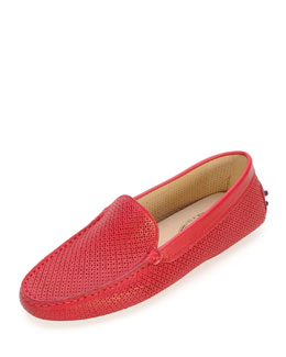 Tod's Perforated Leather Moccasin, Pink