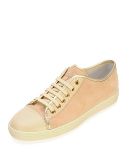 Tod's Suede and Leather Lace-Up Sneaker, Pale Pink/Nude