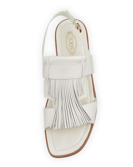 Calfskin Tassel Slingback Sandal, White