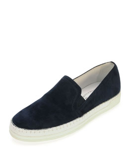 Tod's Suede Canvas-Midsole Skate Shoe, Navy