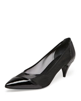 Saint Laurent Patent and Mesh Kitten-Heel Pump