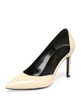 Saint Laurent Paris Patent Half-d'Orsay Pump, Nude