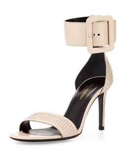 Saint Laurent Mid-Heel Ankle-Wrap Studded Sandal, Nude