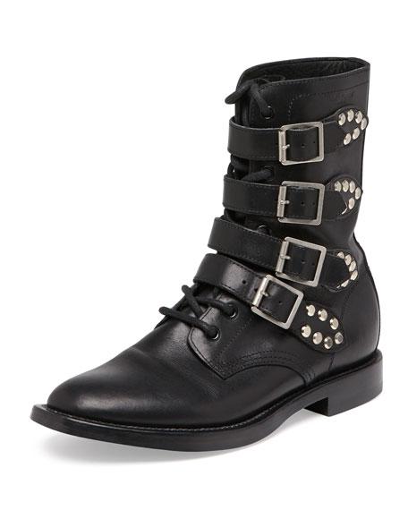 Ranger Studded Motorcycle Boot, Black