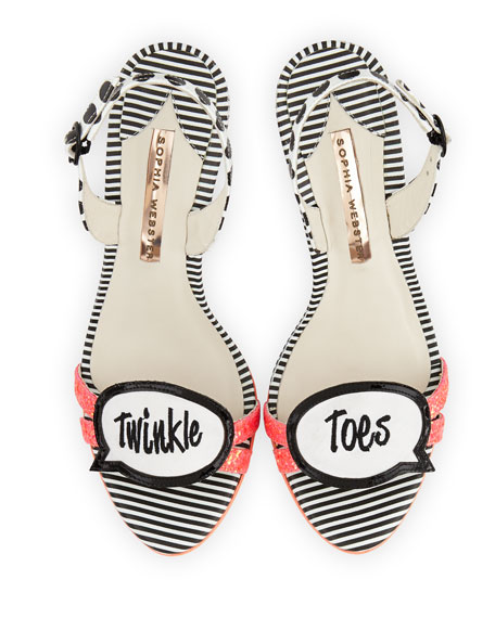 Twinkle Toes Glitter Sandal, Coral/Black/White