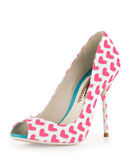 Sophia Webster Peron Hearts Peep-Toe Pump, Lake Blue/Pink