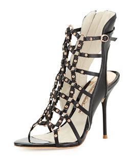 Sophia Webster Brandy High-Heel Gladiator Sandal, Black/Rose Gold
