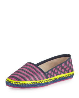 Sophia Webster Juana Striped Espadrille Flat, Navy/Pink