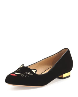 Charlotte Olympia Kiss Me Kitty Velvet Slipper, Black
