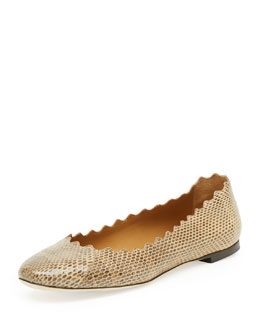 Chloe Scalloped Snake Ballerina Flat, Medium Beige