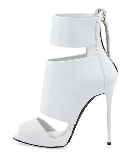 High-Heel Banded Peep-Toe Cage Bootie, White