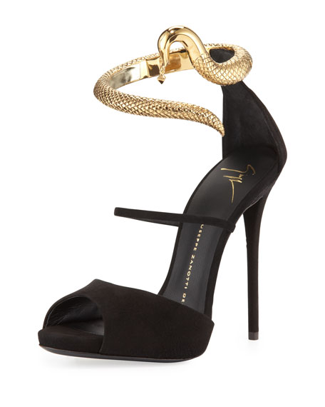 Snake-Ankle-Wrap Suede Sandal