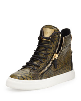 Giuseppe Zanotti Snake-Print Zip High-Top Sneaker, Green