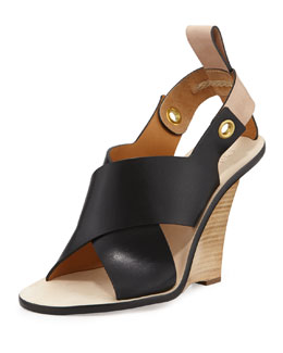 Chloe Crisscross Cantilever Runway Wedge, Black