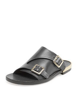 Chloe Double-Buckle Flat Leather Sandal, Black