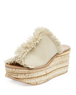 Chloe Fringe Canvas Low Wedge Sandal, Medium Beige