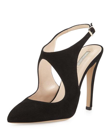 Suede Keyhole Ankle-Strap Pump, Black