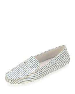 Tod's Striped Penny Keeper Moccasin, White