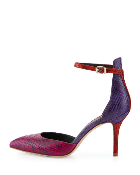 Mariela Snake Point-Toe Pump, Dark Pink