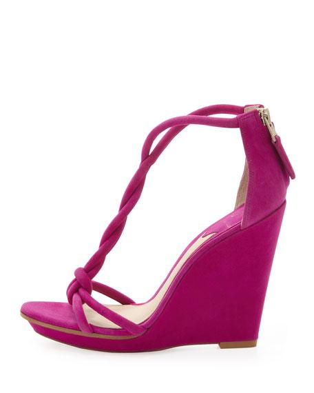 Pricilla Wedge Sandal, Fuchsia