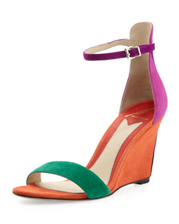 B Brian Atwood Roberta Suede Wedge Sandal, Orange