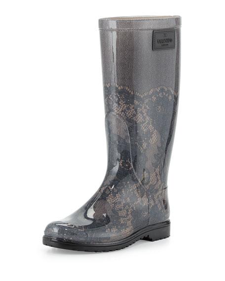 Lace-Print Rain Boot, Blush