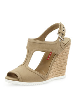 Prada Linea Rossa Gabardine Rope Wedge Sandal, Brown