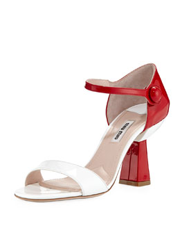 Miu Miu Patent Flared-Heel Sandal, White/Red