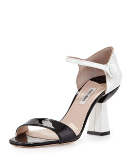 Miu Miu Patent Ankle-Wrap Sandal with Flared Heel, Black/White