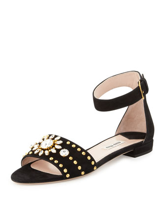 Crystal-Embellished Ankle-Wrap Sandal