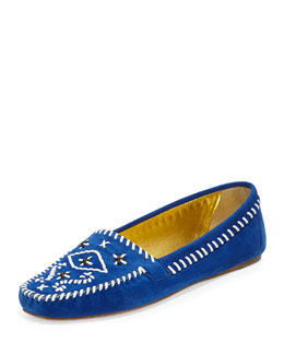 Prada Flat Embroidered Suede Moccasin, Bluette