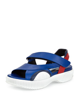 Prada Leather Grip-Strap Sandal, Bluette