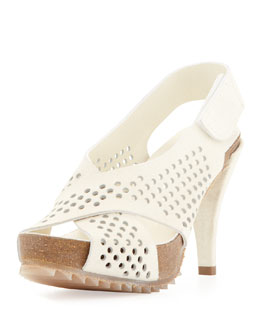 Pedro Garcia Noor Perforated Strap Sandal, Alabaster