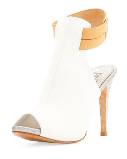 Pedro Garcia Samantha Peep-Toe Pump, White/Luggage